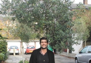 John Ashwell with olive trees in King's Cross