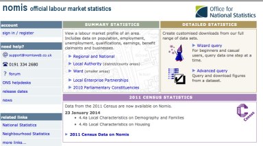 NOMIS Office for National Statistics database