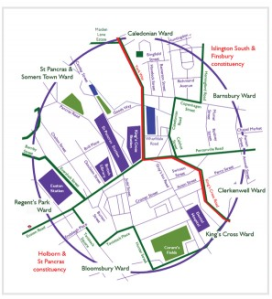 King's Cross - the area within a half mile of the station contains large pockets of communities that have identified as King's Cross since the 1830s, before that it was known as Battlebridge