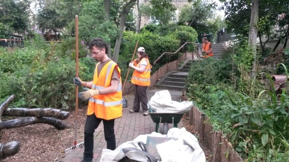 Renet's Canal towpath at King's Cross being maintained by London Wildlife Trust volunteers