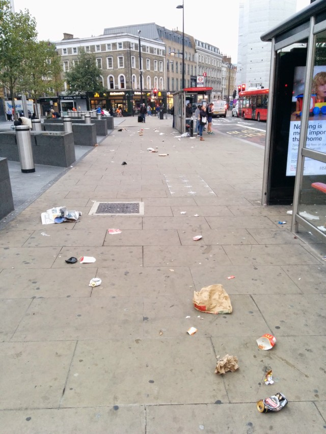 mess on euston road bus stop
