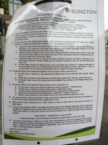 cally road islington traffic control order