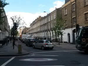 Swinton Street junction with King's Cross Road. All this traffic is stationery. Swinton Street is densely populated