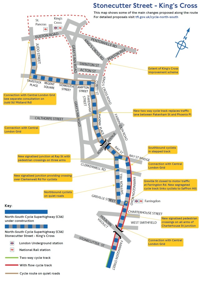North-South Cycle Superhighway CS6 route between Stonecutter Street and King2019s Cross