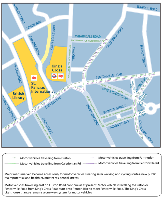 Kings Cross gyratory system redesign by Tom Harrison in response to Transport for London March 2016 consultation
