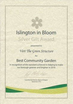 Vert silver gilt award certificate for Islington in Bloom 2016